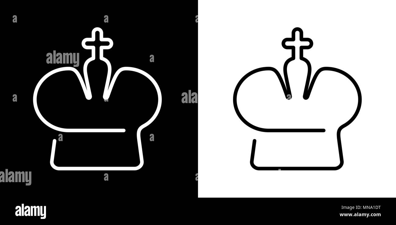 Icon Crown Vector Set On White Black Chess Catholic Royal