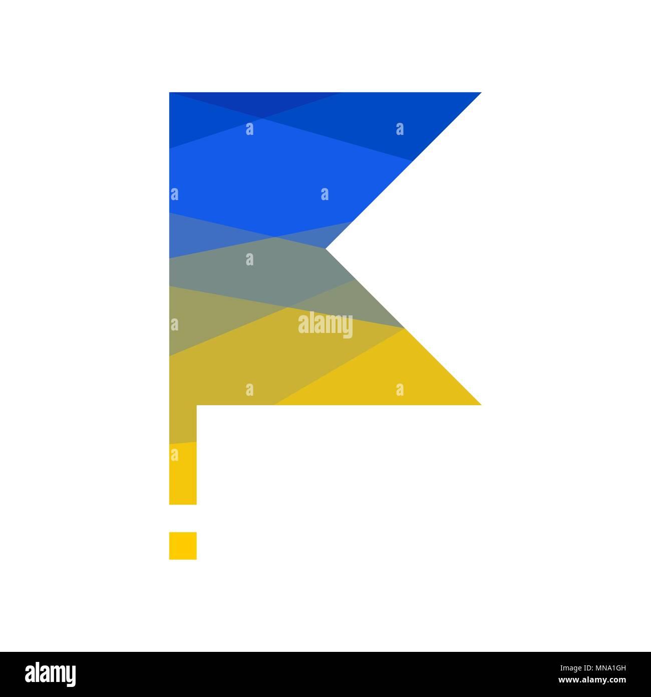 flag of Ukraine on flagpole on white. lowpoly - Stock Vector