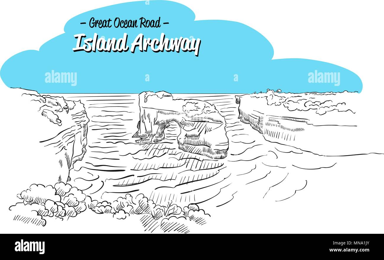 Archway Island Great Ocean Road Australia, Sketch, Famous Landmark, Hand drawn Vecor Outline Artwork - Stock Vector