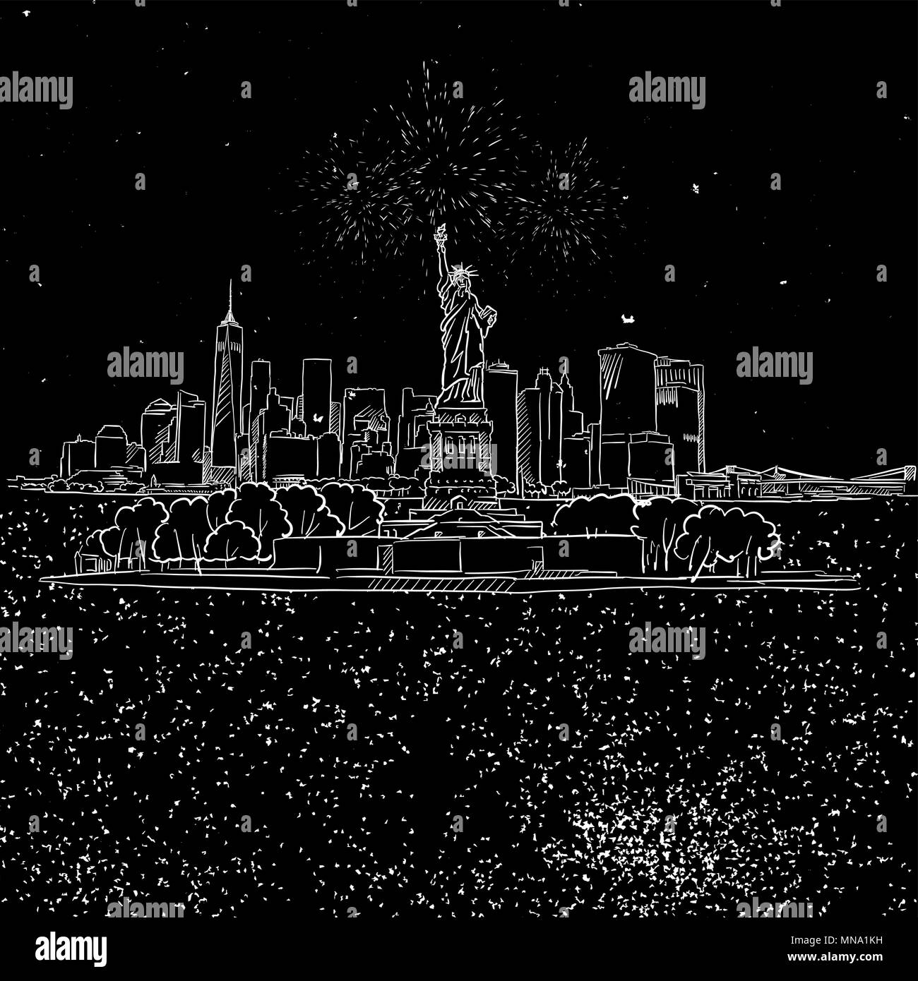 NYC and Liberty Stature on Island by Night Sketch, Hand-drawn Illustration Vector Outline Artwork Stock Vector