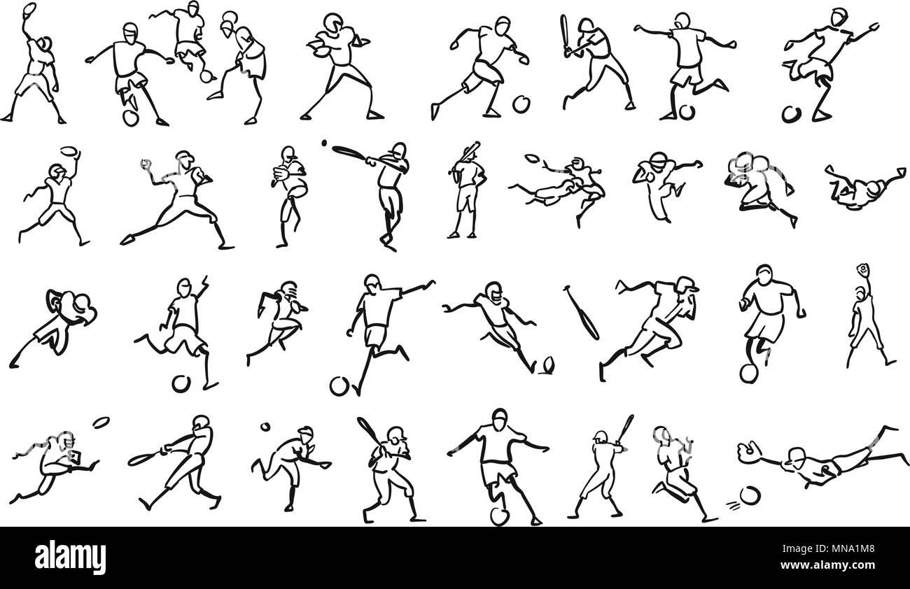 Various Ball Game Motion Sketch Studies Set, hand-drawn vector Outline Artwork - Stock Vector