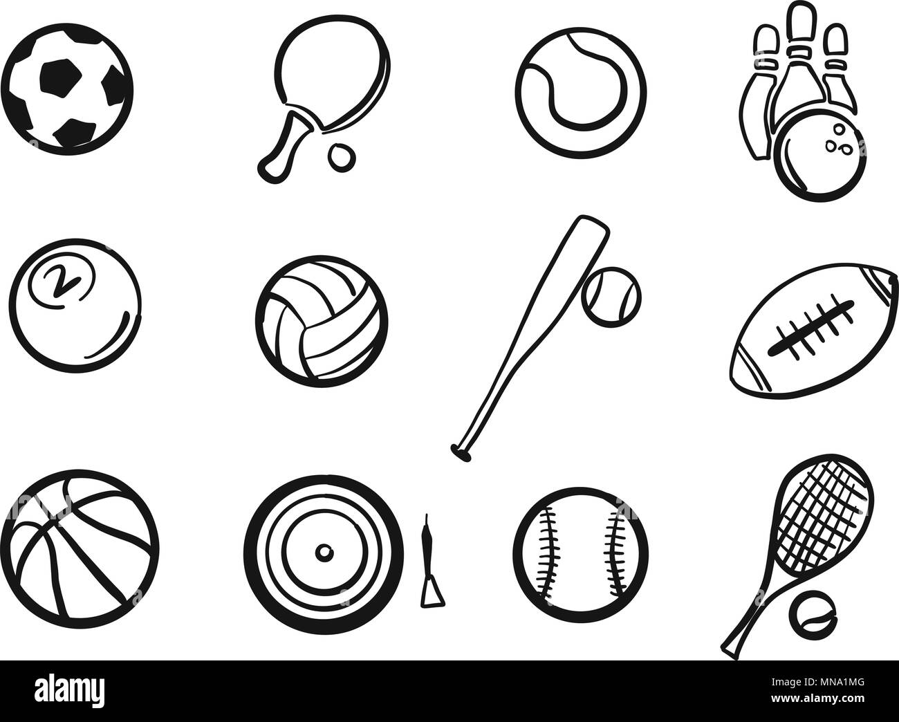Various Balls Sports Equipment Sketched Set, hand-drawn vector Outline Artwork - Stock Image