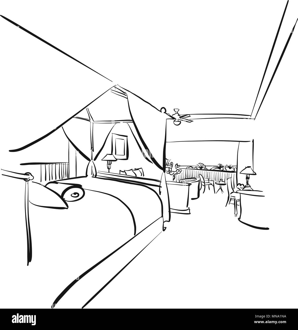 https://c8.alamy.com/comp/MNA1NA/sketched-hotel-room-interieur-with-balcony-hand-drawn-vector-artwork-MNA1NA.jpg