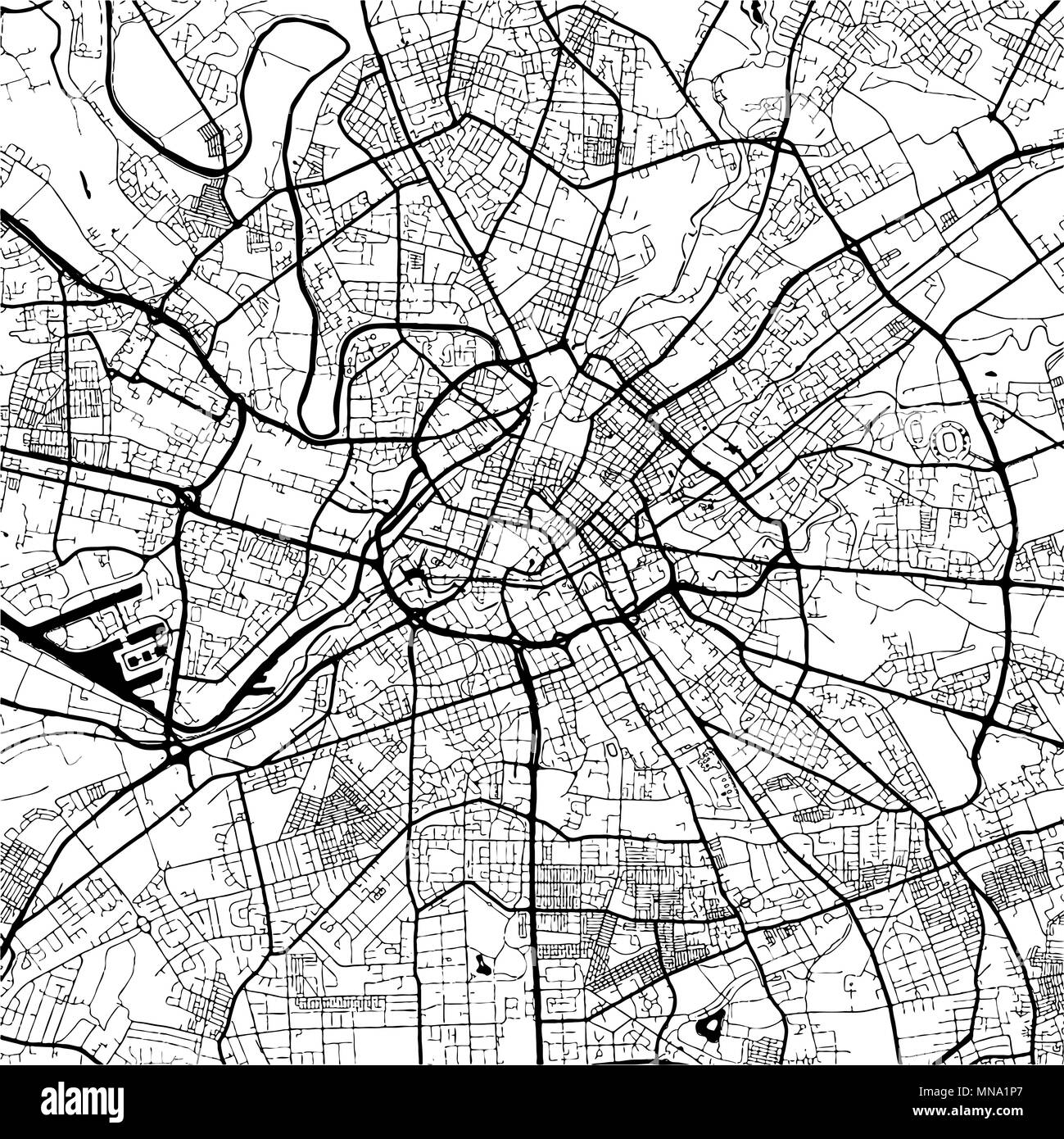 Manchaster, England, Monochrome Map Artprint, Vector Outline Version, ready for color change, Separated On White - Stock Vector