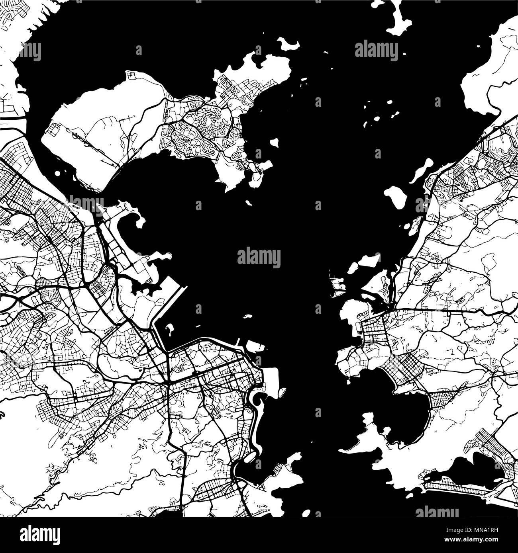 Rio De Janeiro Brazil Monochrome Map Artprint Vector Outline Version Ready For Color Change Separated On White