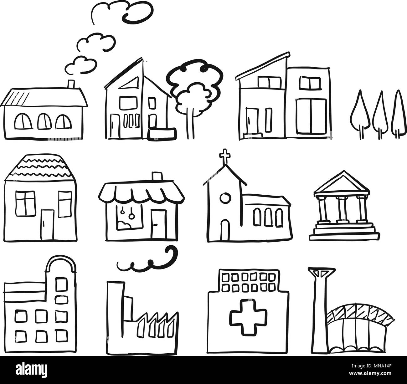 Various house types, fast vector sketch, hand drawn vector outline drawing black pen on white ground - Stock Image