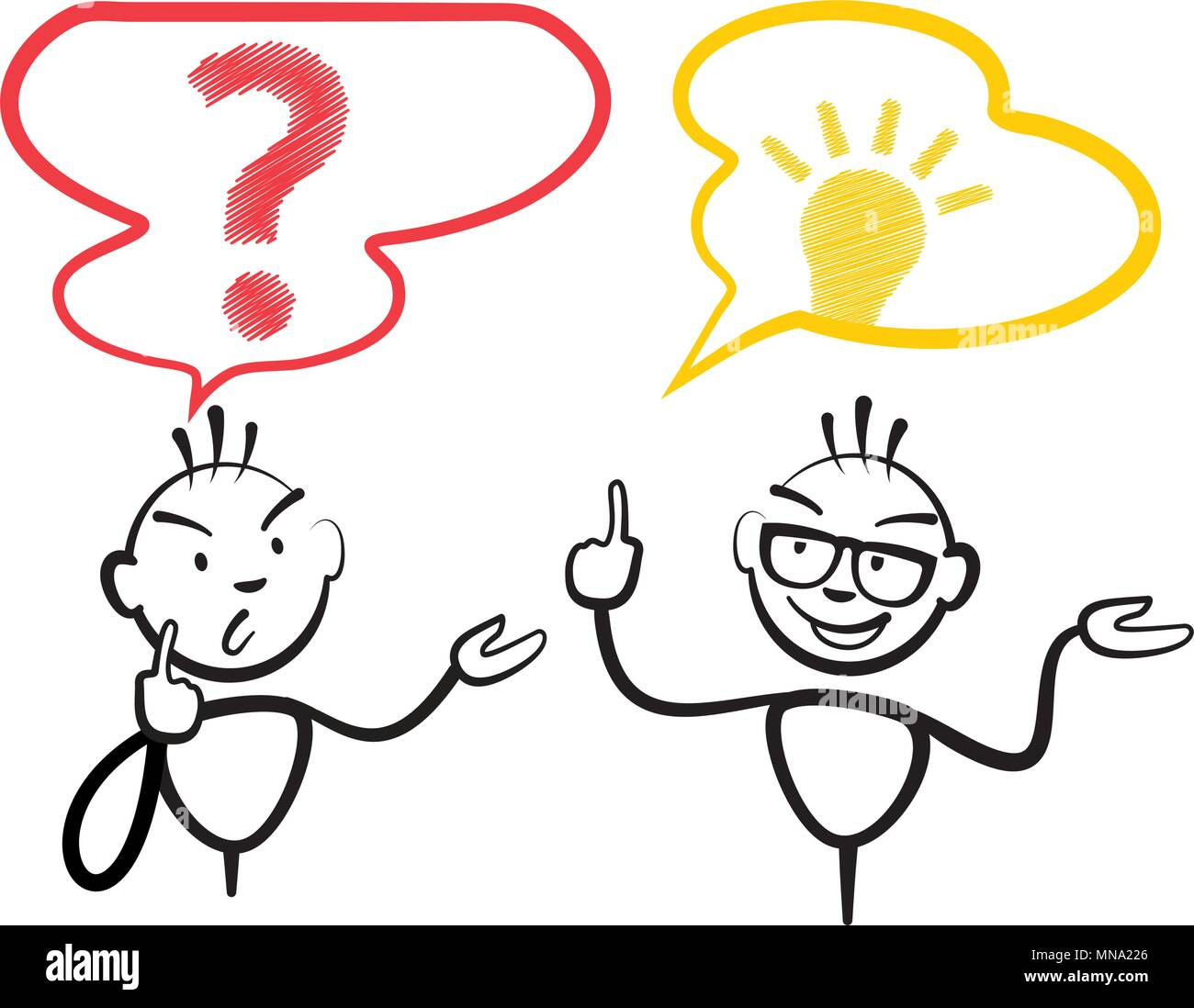 Stick figure question mark and idea, Stickman vector drawing on white background - Stock Vector