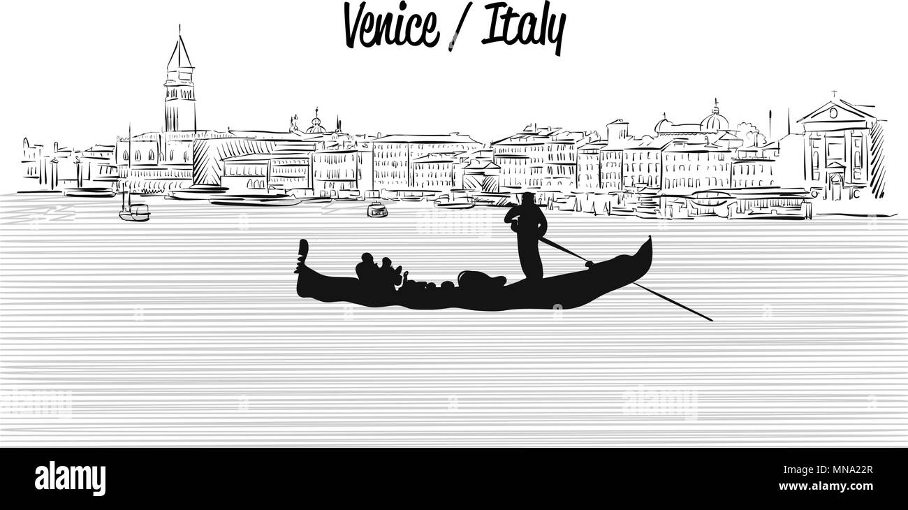 Venice skyline with Gondola, Hand drawn Vector Sketch, Outline Silhouette - Stock Image