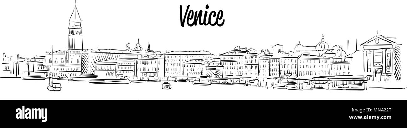 Venice Skyline, Italy, Hand drawn Vector Sketch, Outline Silhouette - Stock Image
