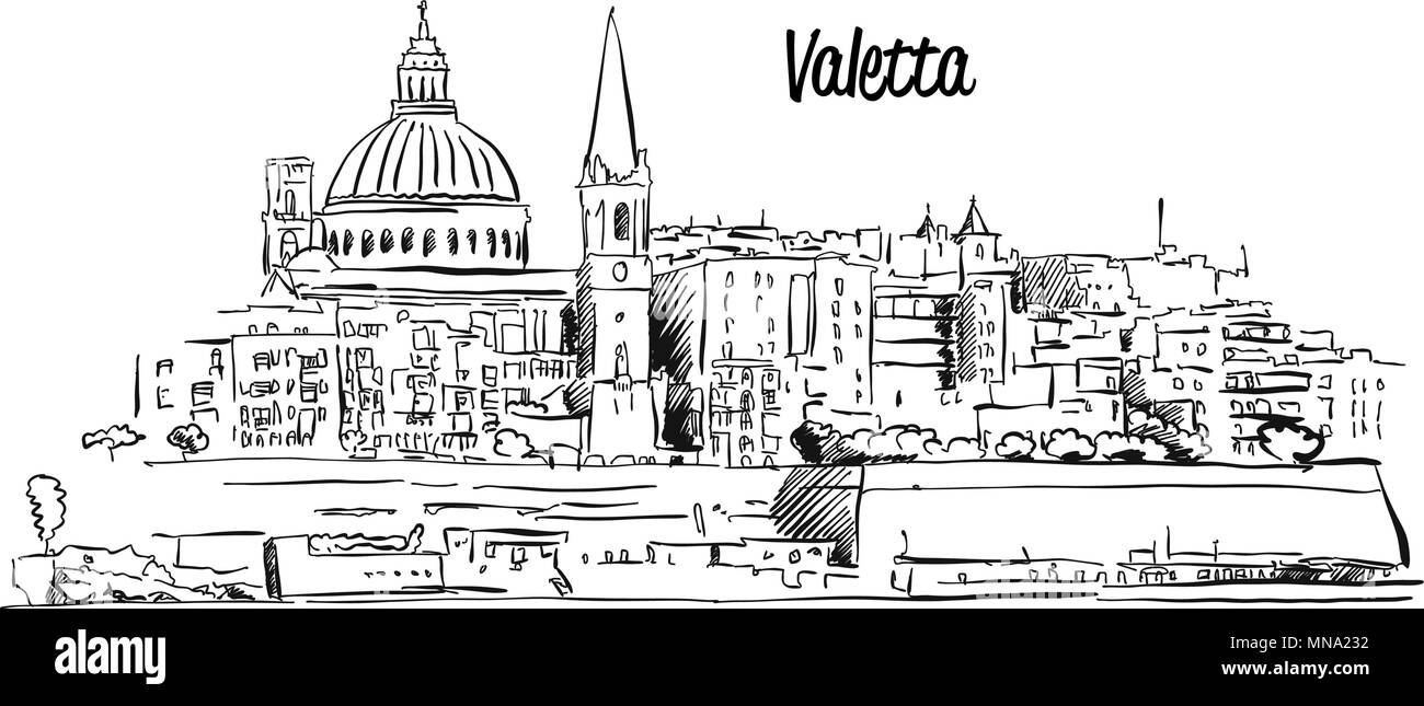 Valetta, Malta. Panorama Waterfront Outline Vector Sketch. Famous Landmark - Stock Image