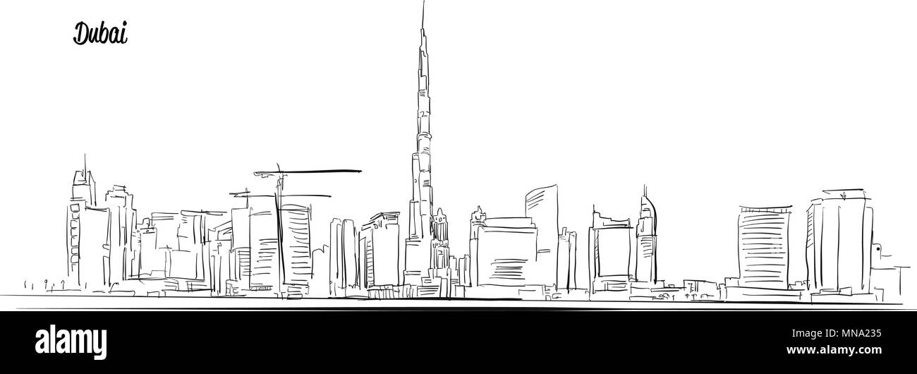 Dubai, United Arab Emirates. Panorama Vector Outline Sketch. Hand-drawn Silhouette. - Stock Image
