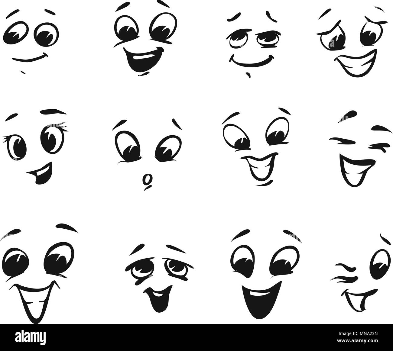 happy smiling and laughing cartoon faces tiny illustrations with rh alamy com Eyes Looking Clip Art Surprised Eyes Clip Art