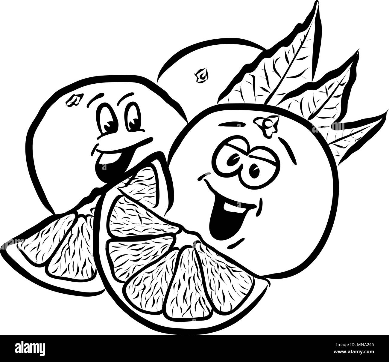 Laughing Oranges Comic Fruits Sketches. Hand drawn Vector Outline Illustrations. Useful for any kind of advertising in web and print. - Stock Image