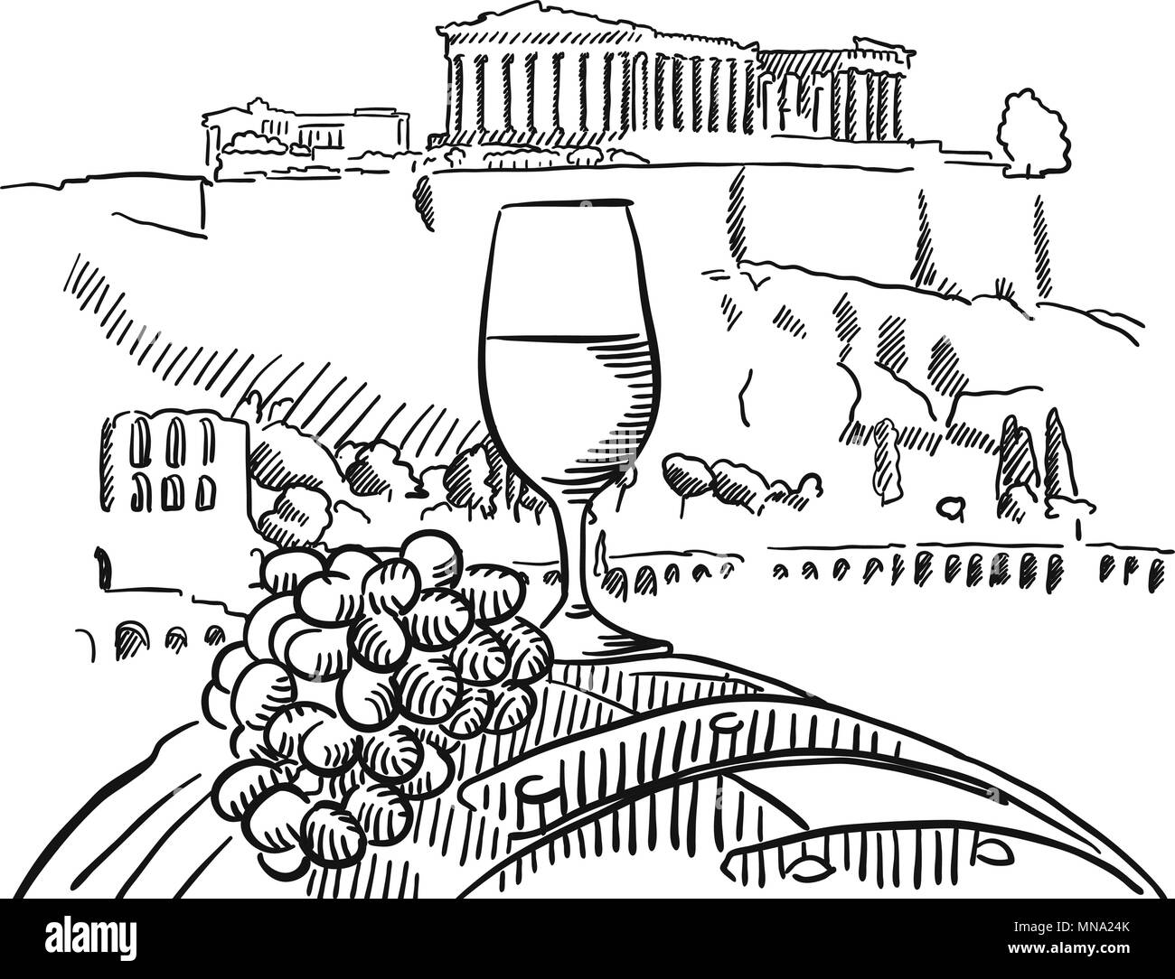 Vine Glass on Barrel in Front of Acropolis, Athens, Vector Sketched Outline Artwork - Stock Vector