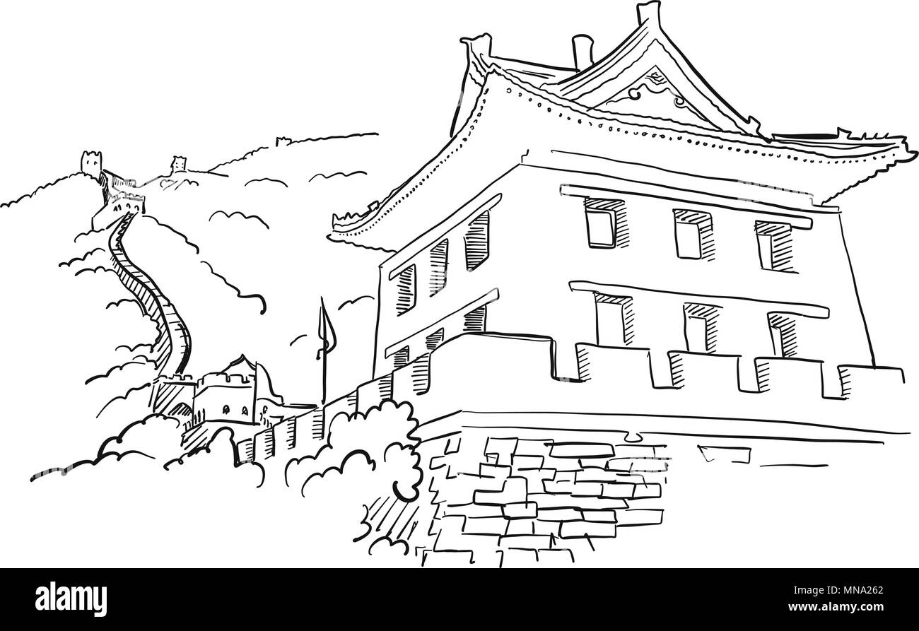 Great Wall with Tower Sketch, Famous Destination Landmark, Hand drawn Vector Artwork - Stock Vector