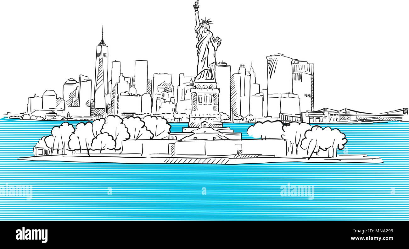 Liberty Statue with New York City Skyline Sketch, Hand drawn Vector Outline Artwork Stock Vector