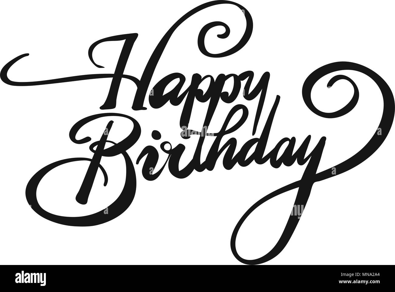Happy Birthday Vintage Headline Design Hand Drawn Vector Calligraphy Greeting Card Concept