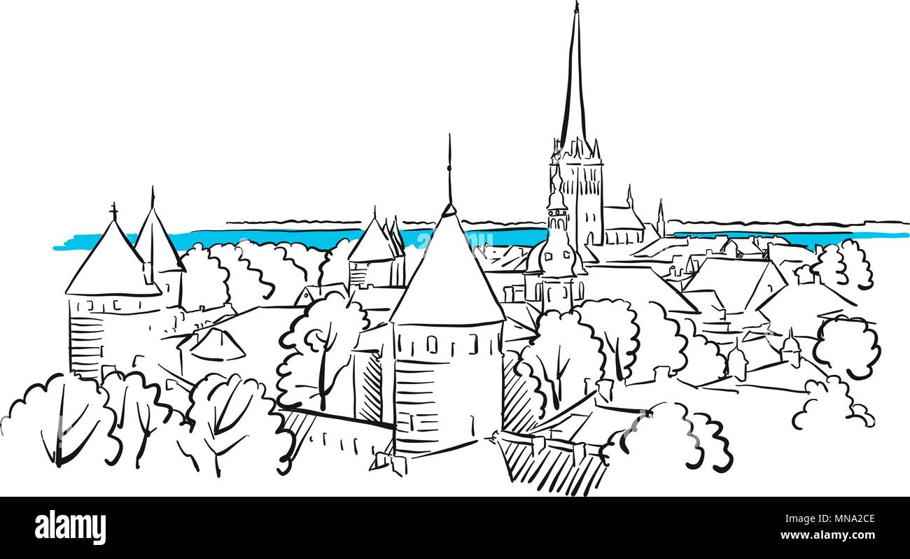Riga Ancient Panorama Greeting Card Sketch, Hand-drawn Vector Outline Artwork Illustration - Stock Vector