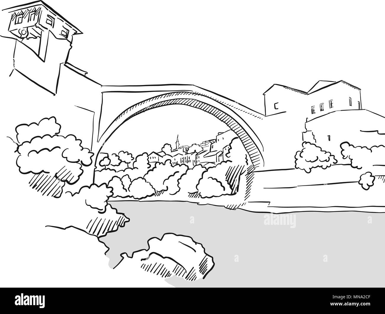 Mostar Bridge Bosnia Herzegovina Greeting Card Sketch, Hand-drawn Vector Outline Artwork Illustration - Stock Vector