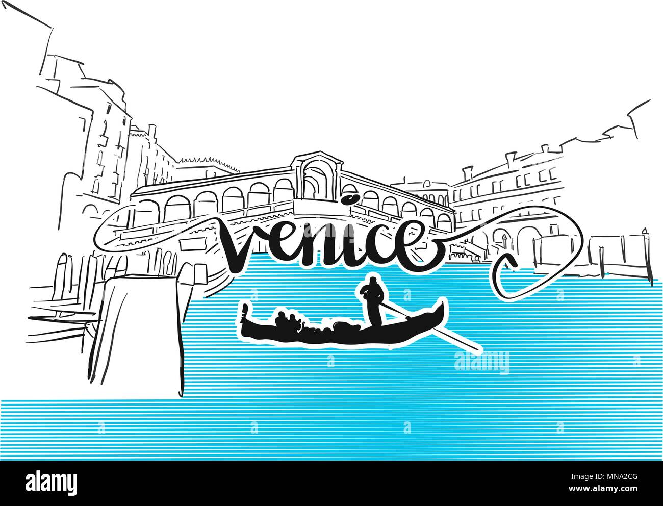 Famous Venice Rialto Bridge Greeting Card Design, Hand-drawn Vector Outline Artwork Illustration - Stock Vector