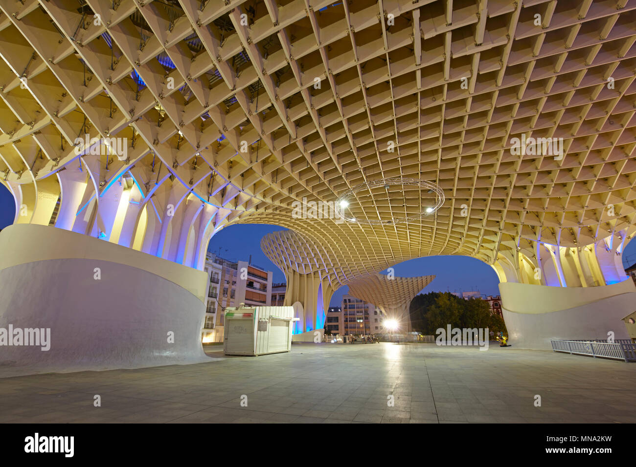 The wooden structure of the Metropol Parasol in Seville, Spain - Stock Image
