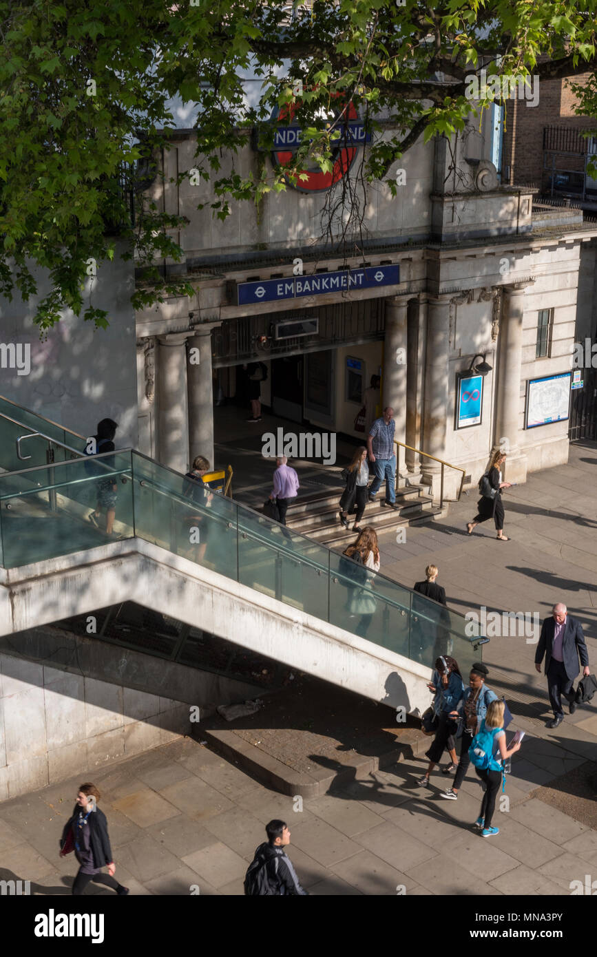 Looking down on embankment tube station on the north bank of the river thames in central london. Tubes and underground trains transport for london tfl - Stock Image