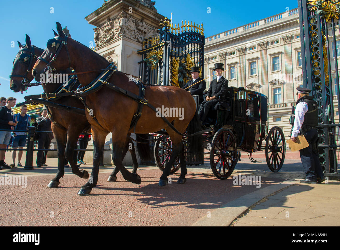 LONDON - MAY 15, 2018: Horse and carriage passes out of the ornate gates Buckingham Palace - Stock Image