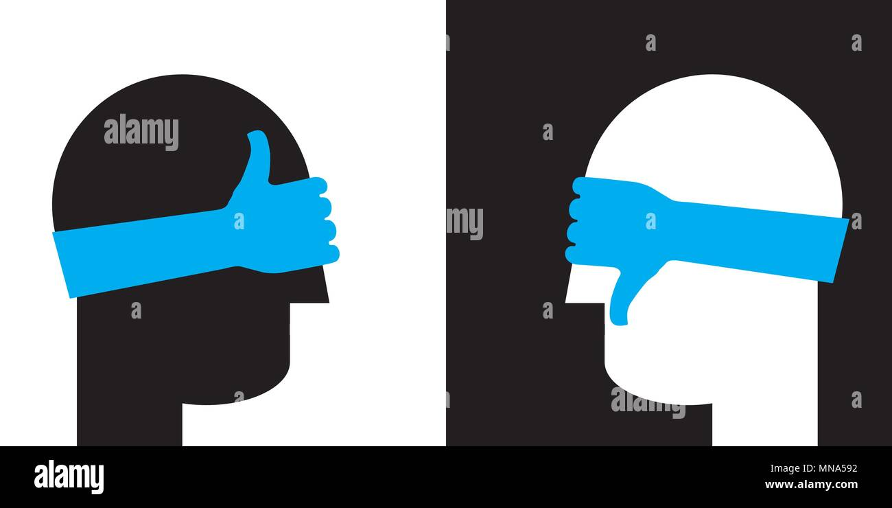 fundamental  disagreement, blindfolded people arguing against each other - Stock Image
