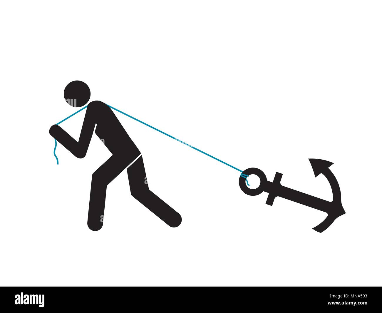 man gragging heavy anchor - Stock Vector