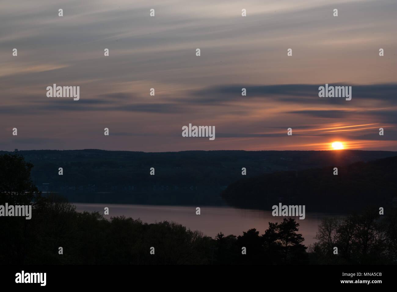 Sunset Over Bluff on Keuka Lake - Stock Image