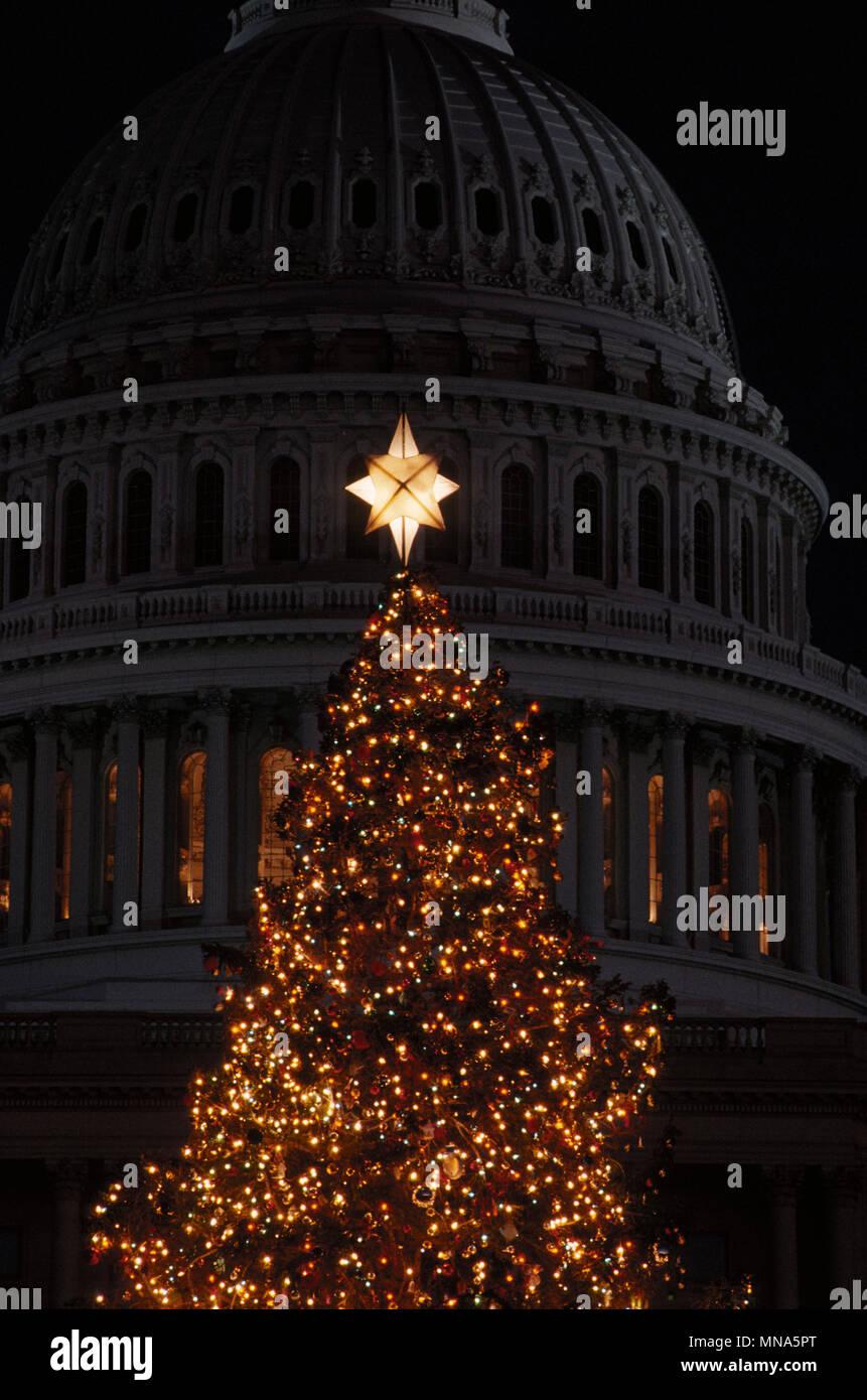 The Christmas Tree 1991.Washington Dc Usa December 1991 The Us Capital Christmas