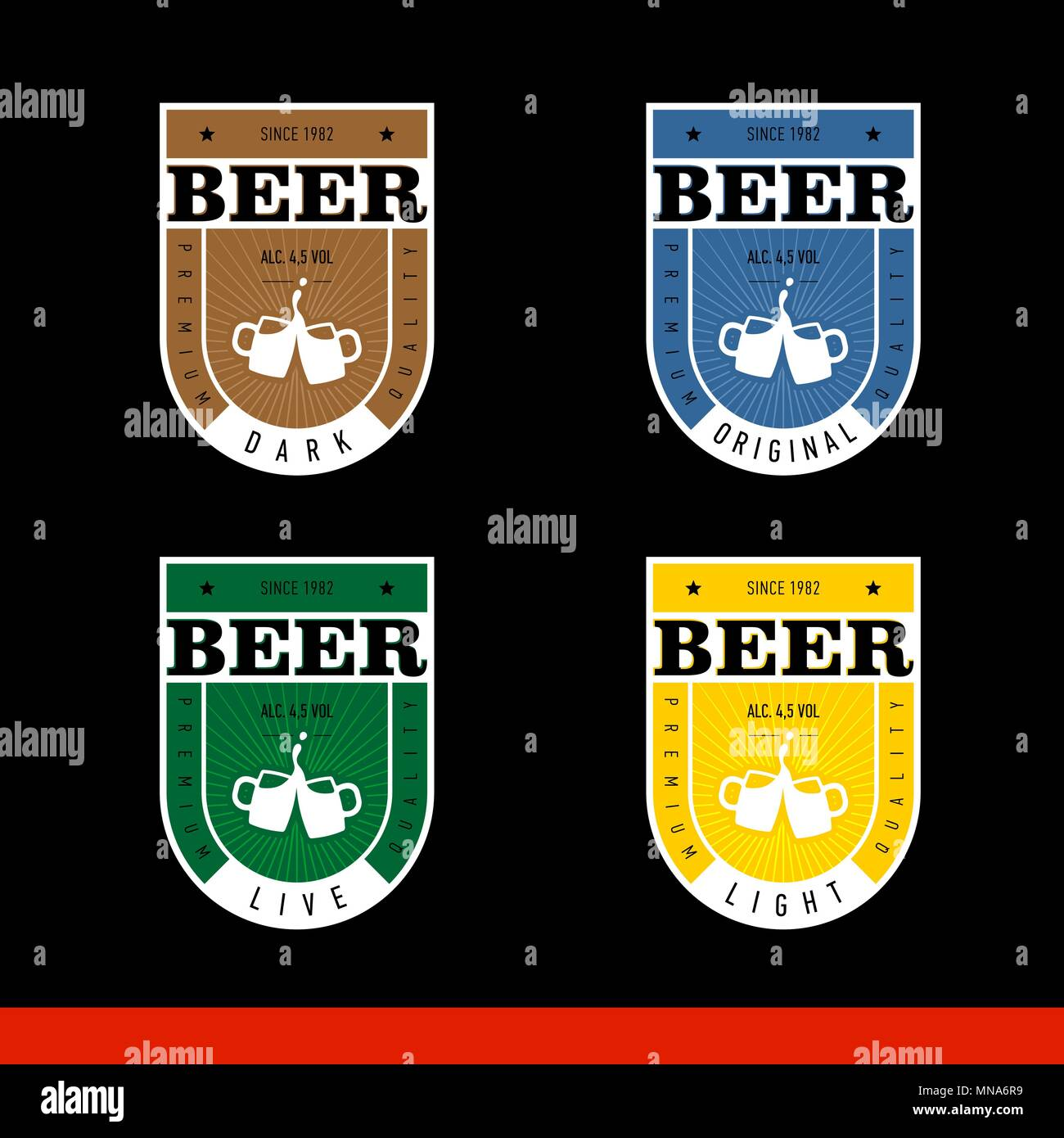 Beer Label Design. Label for live, light, dark, original beer. Set. black background Stock Vector