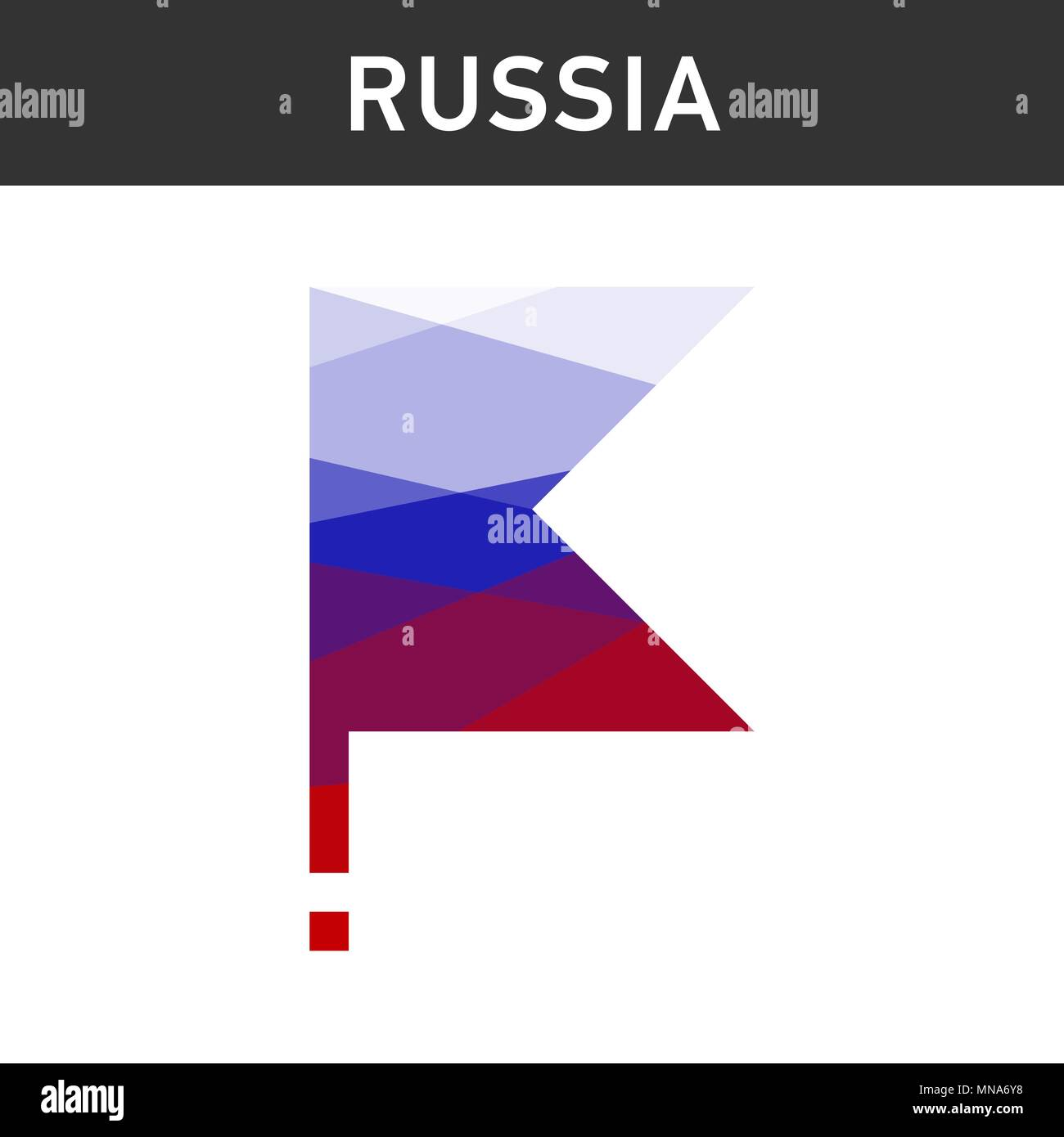 flag of Russia on the flagpole. lowpoly. Isolated. Vector illustration - Stock Vector