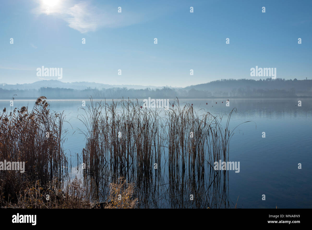 Varese. Lombardy. ITALY. View, across the lake and Rowing Course, at the Varese Rowing Club. [Canottieri Varese] Lake Varese. © Peter SPURRIER,  Atmospheric Conditions - Stock Image