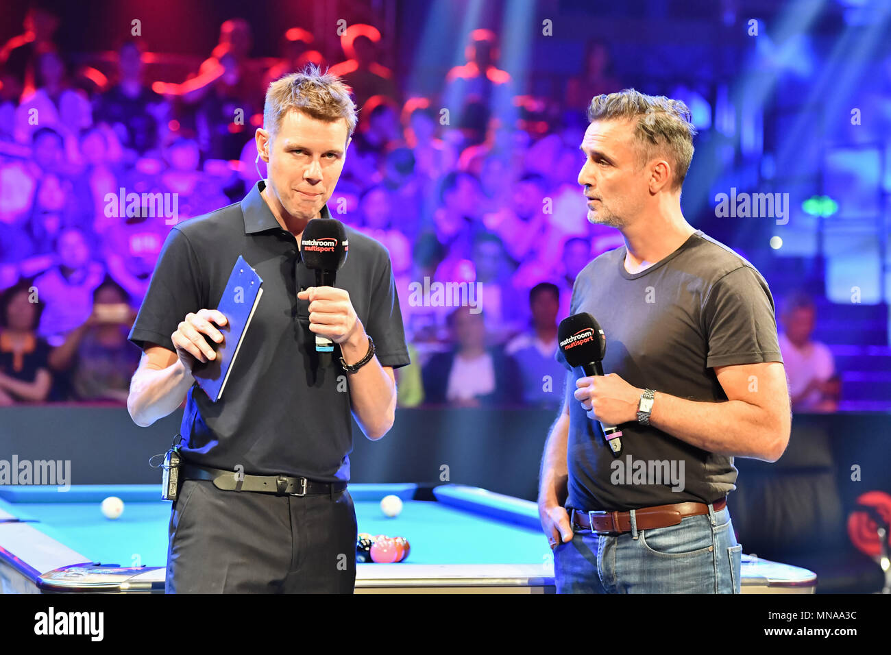 Shanghai, China. 15th May 2018. The match official presenters - Alex Lely announcing the Round 1 match between Austra vs Chile during WORLD CUP of POOL 2018: Round 1 - Austra vs Chile at Luwan (Gymnasium) Arena on Tuesday, 15 May 2018. SHANGHAI, CHINA. Credit: Taka G Wu Credit: Taka Wu/Alamy Live News - Stock Image
