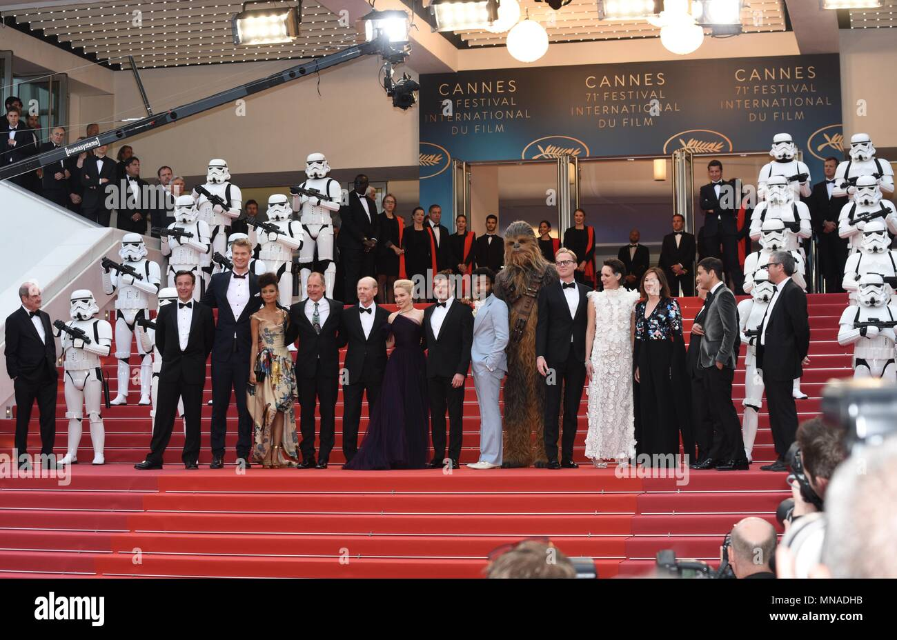 Cannes, France. May 15, 2018 - Cannes, France:  Joonas Suotamo, Thandie Newton, Woody Harrelson, Ron Howard, Emilia Clarke, Alden Ehrenreich, Donald Glover, Chewbacca attend the 'Solo: a Star Wars Story' premiere during the 71st Cannes film festival. Credit: Idealink Photography/Alamy Live News - Stock Image
