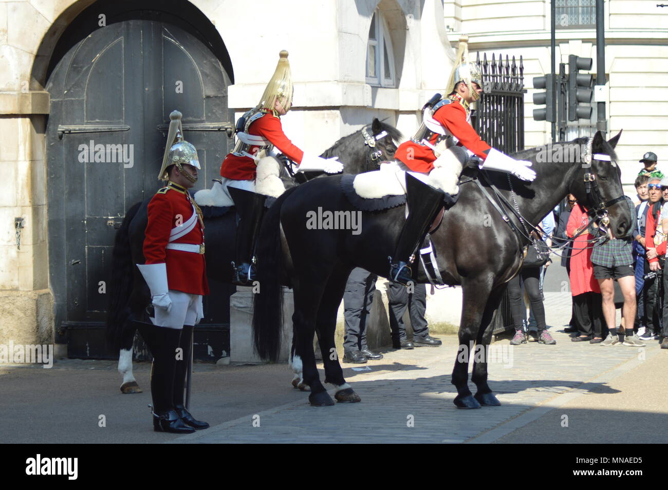 The 4 pm Dismounting Ceremony at Horse Guards Parade is every day 365 days a year. The Queens Life Guards have been at Horse Guards Parade since the Restoration King Charles II in 1660. The Queens Life Guards is one of two Senior Household Cavalry Regiment. When the Queen is in Residence at Buckingham Palace, The Guard consists of one Officer, One Corporal Major, two Non Commissioned Officers, One Trumpeter and Ten troopers. This is known as the Long Guard Stock Photo