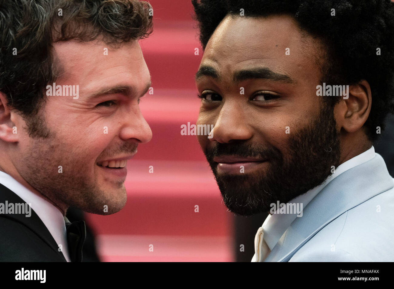 Cannes, France. 15th May 2018. Alden Ehrenreich and Donald Glover on the 'Solo : A Star Wars Story' Red Carpet on Tuesday 15 May 2018 as part of the 71st International Cannes Film Festival held at Palais des Festivals, Cannes. Pictured: Donald Glover. Picture by Julie Edwards. Credit: Julie Edwards/Alamy Live News - Stock Image