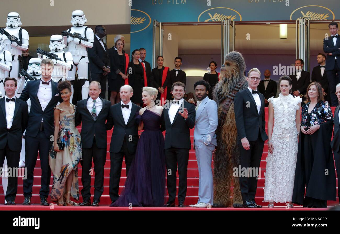 Cannes, France. 15th may 2018. Joonas Suotamo, Than Newton, Woody Harrelson, Ron Howard, Donald Glover, Emilia Clarke, Alden Ehrenreich, Actors And Ector Solo: A Star Wars Story, Premiere. 71 St Cannes Film Festival Cannes, France 15 May 2018 Dja1905 Credit: Allstar Picture Library/Alamy Live News Credit: Allstar Picture Library/Alamy Live News - Stock Image