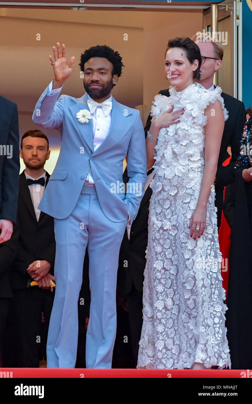 CANNES, FRANCE - MAY 15:  actor Donald Glover, actress Phoebe Waller-Bridge attend the European Premiere of 'Solo: A Star Wars Story' at Palais des Festivals on May 15, 2018 in Cannes, France Credit: BTWImages/Alamy Live News - Stock Image