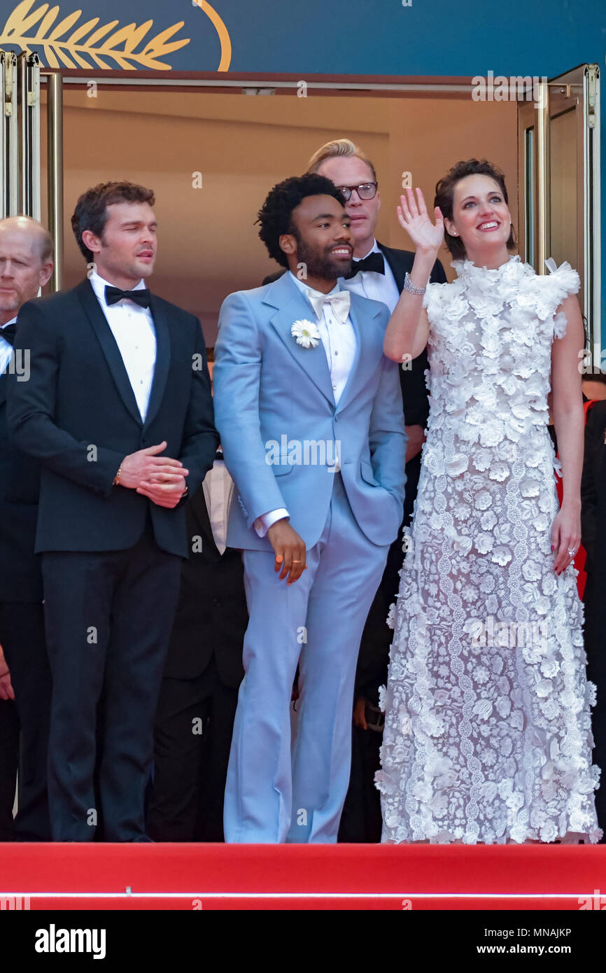CANNES, FRANCE - MAY 15:  Actor Alden Ehrenreich, actor Donald Glover, actress Phoebe Waller-Bridge attend the European Premiere of 'Solo: A Star Wars Story' at Palais des Festivals on May 15, 2018 in Cannes, France Credit: BTWImages/Alamy Live News - Stock Image