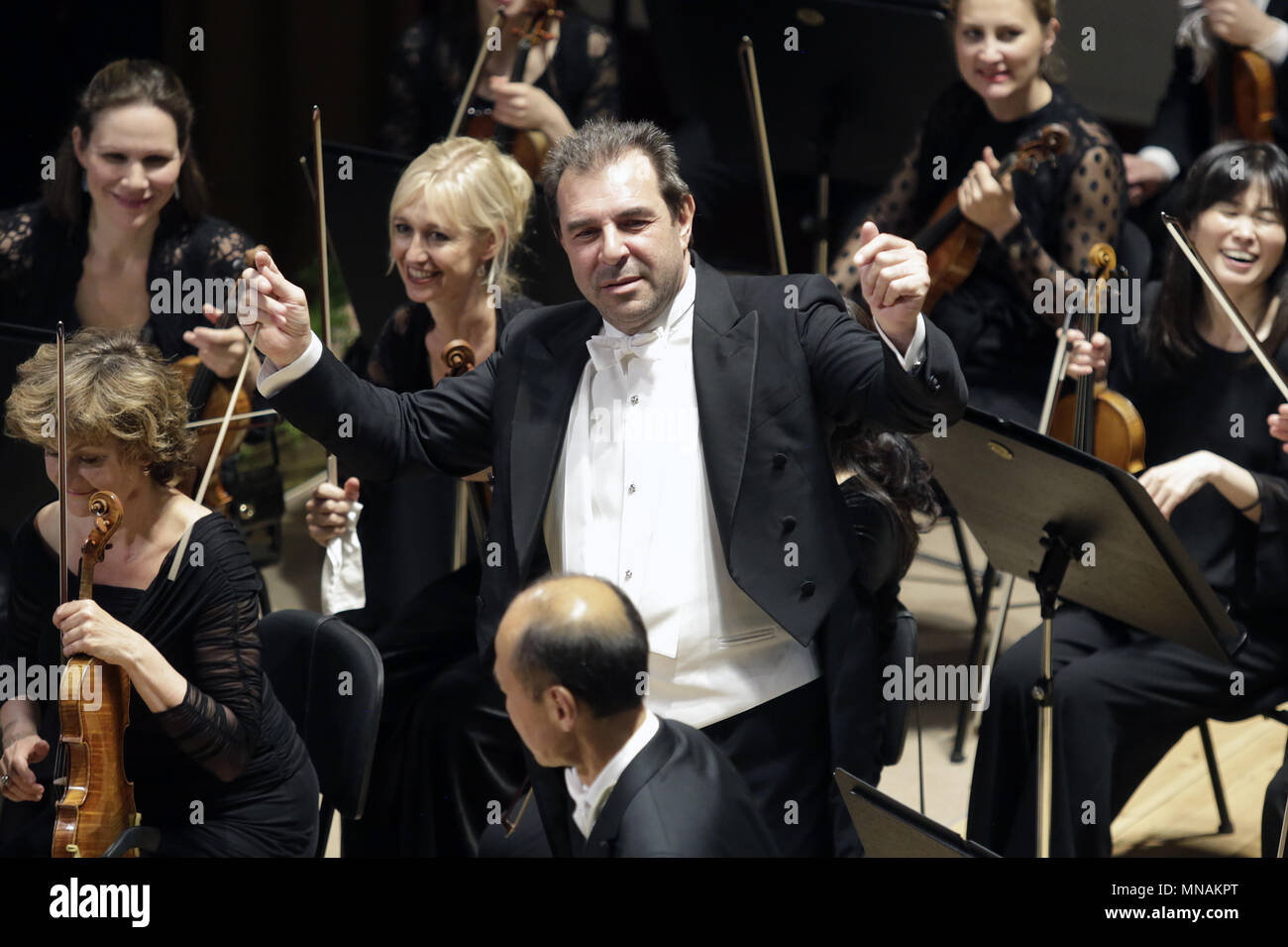 Prague, Czech Republic. 15th May, 2018. Italian conductor Daniele Gatti conducts concert of Royal Orchestra Concertgebouw Amsterdam during the 73rd Prague Spring international music festival in Prague, Czech Republic, on May 15, 2018. Credit: Michaela Rihova/CTK Photo/Alamy Live News Stock Photo