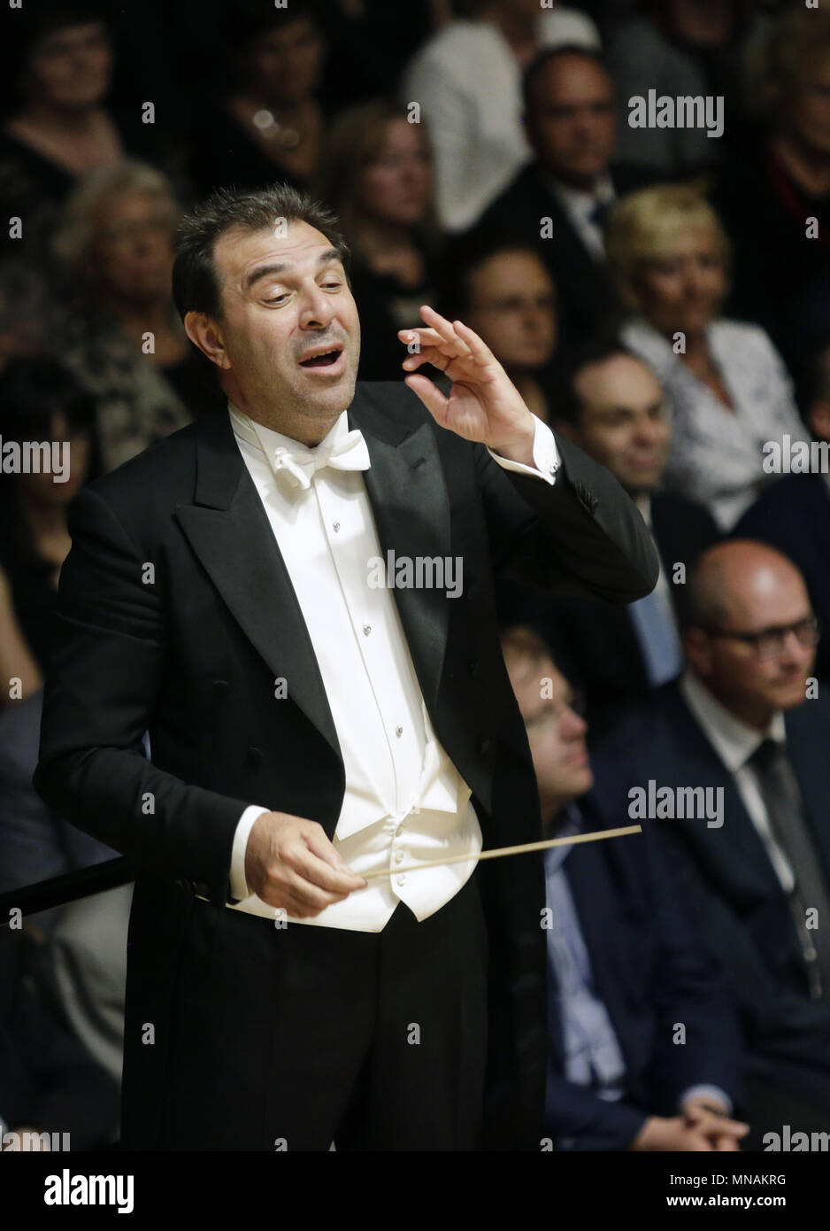 Prague, Czech Republic. 15th May, 2018. Italian conductor Daniele Gatti conducts concert of Royal Orchestra Concertgebouw Amsterdam during the 73rd Prague Spring international music festival in Prague, Czech Republic, on May 15, 2018. Credit: Michaela Rihova/CTK Photo/Alamy Live News Stock Photo
