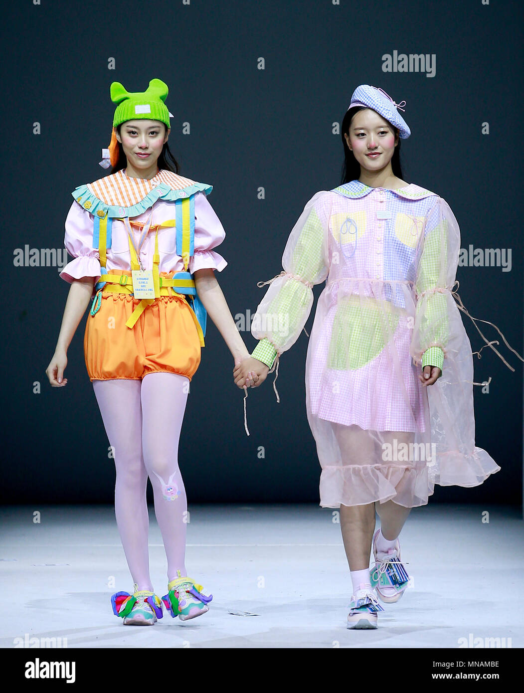 Beijing China 16th May 2018 Models Present Creations Designed By Graduates Of Zhejiang Fashion Institute Of Technology During The China Graduate Fashion Week In Beijing Capital Of China May 16 2018 Credit
