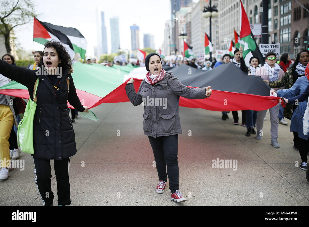 Chicago, USA  15th May, 2018  People shout slogans during a protest
