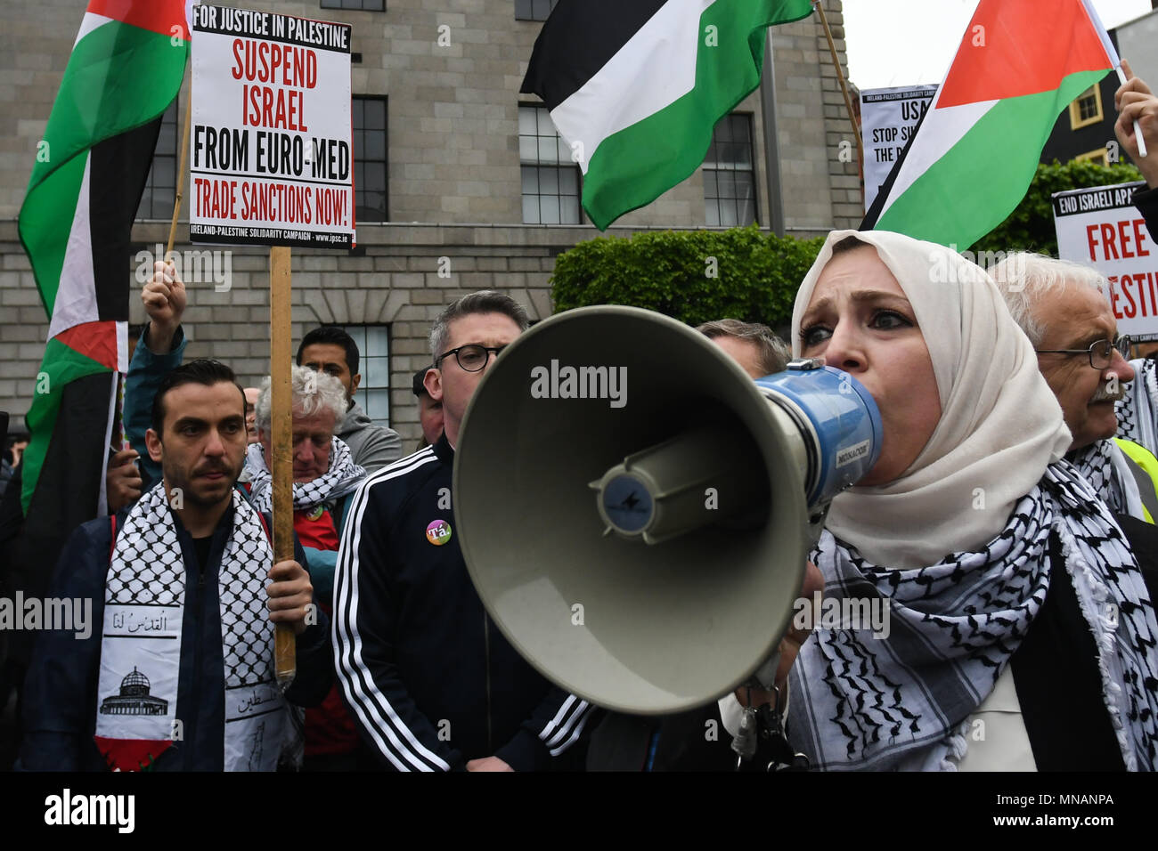 Dublin, Ireland. 15/5/2018. Over hundred protesters took part in The Ireland-Palestine Solidarity Campaign (IPSC) rally in front of Dublin's GPO on O'Connell Street. Photo: ASWphoto Credit: ASWphoto/Alamy Live News - Stock Image