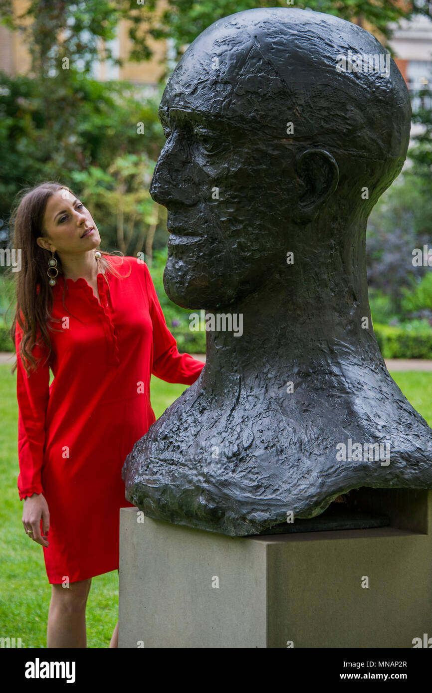 London, UK. 16th May 2018. Dame Elisabeth Frink, In Memorium III, 1983, estimate: £200,000-300,000 - Christie's will present 'Sculpture in the Square' an outdoor sculpture garden set within St James's Square, London, on view to the public from 17 May to 20 June 2018. Credit: Guy Bell/Alamy Live News - Stock Image