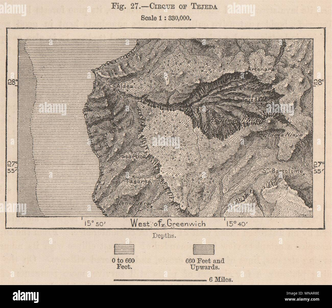 Map Of Spain Gran Canaria.Cirque Of Tejeda Gran Canaria Spain Canary Islands 1885 Old