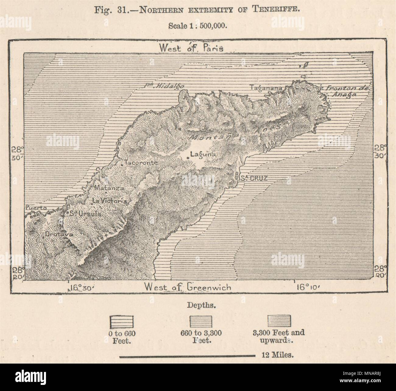 Map Of Spain Tenerife.Macizo De Anaga Tenerife Spain Canary Islands 1885 Old Antique
