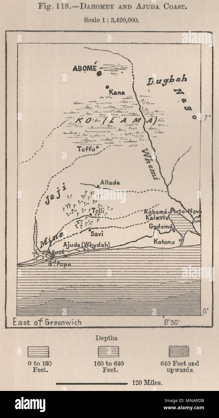 Dahomey (Benin) & Ajuda (Ouidah) Coast. Abomey. Cotonou. Benin 1885 on